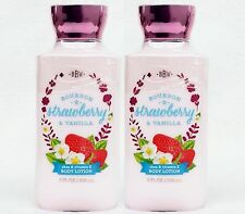 2 NEW BATH & BODY WORKS LOTION Bourbon Strawberry Vanilla 8 oz Free Ship