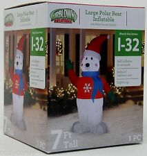 Christmas Gemmy 7 ft Large Polar Bear Airblown Inflatable Indoor/Outdoor NIB
