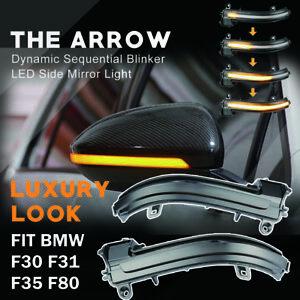 For BMW F30 F31 F35 F80 Dynamic Smoked LED Side Mirror Turn Signal Lights