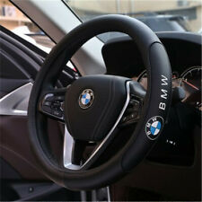 NEW Car Steering Wheel Cover Fit For BMW Logo Genuine Leather Black 38cm M Size