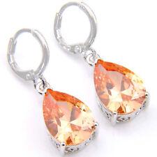 Amazing Shiny Natural Honey Morganite Gemstone Silver Dangle Drop Earrings