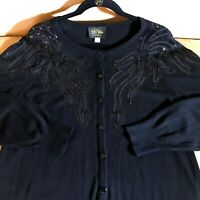 Bob Mackie Wearable Art Embellished Sequins Black Cardigan Sweater Button Up L