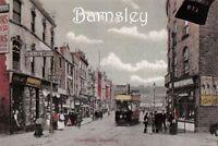 Vintage Reproduction Yorkshire Postcard, c1900s Cheapside, Barnsley, Tram Q38