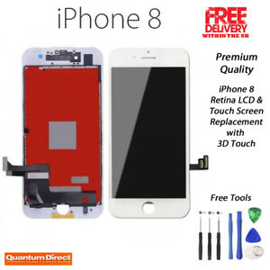 NEW iPhone 8 Retina LCD & Digitiser Touch Screen Replacement Grade AAA - WHITE