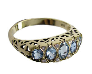 R307 Genuine 9K, 10K, 18K Solid Gold Natural Aquamarine & Diamond Eternity Ring