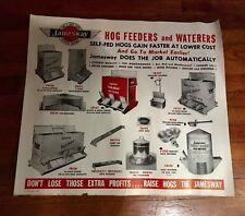 """Jamesway Livestock Equipment ~ Vintage Hog Feeders & Waters Poster ~ 24"""" by 21"""""""