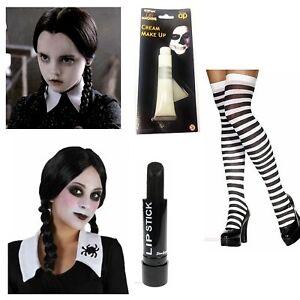 Halloween Wednesday Addams Costume Plait Wig Black White Socks Paint Lipstick