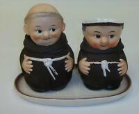 Vintage 1950s Goebel Friar Tuck Creamer & Lidded Sugar Set with Base