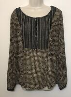 Sigrid Olsen Size 12 Tunic Blouse Brown Black Long Sleeve Button Up Scoop Neck