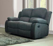 New Modern Harvey 2 Seater Luxury Fabric Recliner Sofa Grey Charcoal