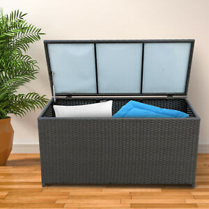 Outsunny Large Rattan Storage Box Garden Chest Wicker Outdoor Cabinet Deck Shed
