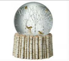 Large Heaven Sends Birds in Trees Snow Globe On A Birch Display Truly Stunning