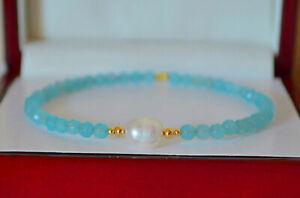 Natural Faceted Blue Aquamarine Pearl 14K Yellow Gold Bangle Bracelet Handmade