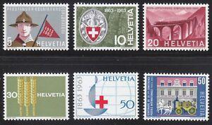 Switzerland 1963 MNH Mi 768-773Sc 422-427 Boy Scout,Train,Red Cross,Wheat,Bridge