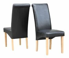 Chaises noires contemporain en cuir pour la salle à manger