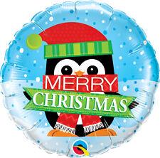 "CHRISTMAS PARTY SUPPLIES BALLOON 18"" MERRY CHRISTMAS PENGUIN ROUND FOIL BALLOON"