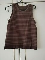 WOMENS BROWN STRIPED SLEEVELESS SHORT TOP SIZE 10 / 12 M / L STRETCH LENGTH 21
