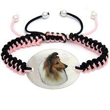 Sheltie Shetland Sheepdog Natural Mother Of Pearl Adjustable Knot Bracelet Bs170