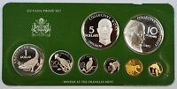 1978 Guyana 8 Coin Proof Set- $5 & $10 Silver- w/Box & COA