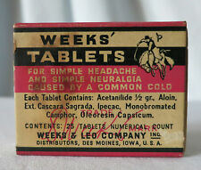 Vintage WEEKS' TABLETS, For Headaches, WEEKS & LEO COMPANY, Des Moines, Iowa