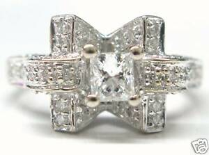 Princess Cut Diamond Engagement Ring Solid 18Kt White Gold