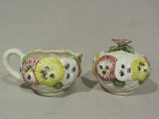 "Fitz and Floyd ""Pansy Parade"" Sugar Bowl and Creamer Set - Flowers Weave MINT"