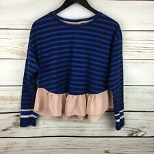 Anthropologie Deletta Black & Blue Striped Rugby Shirt Pink Chiffon Ruffle Small