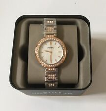 NWT Fossil Women's Karli Three-Hand Two-Tone Stainless Steel Watch in Box