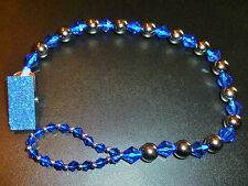 Dark Blue and Silver Sparkle Romany Crystal Bling Baby dummy pacifier clip chain