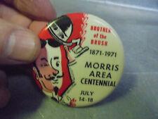 Vintage 1971 Morris Minnesota Brother of the Brush Centennial Pinback Button