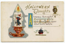 Halloween Thoughts Owl Cauldron Witch in Candlestick