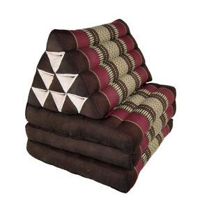 Thai Three Fold Triangular Cushion - Brown/Maroon (DM19)
