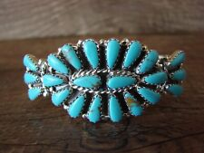 Navajo Indian Traditional Sterling Silver Turquoise Cluster Bracelet by Jesse...