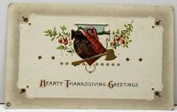 Thanksgiving Greetings Turkey with Golden Ax or  Axe 1918 Embossed Postcard B16
