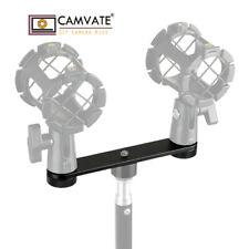 "CAMVATE Double Microphone Mount Stand Bracket T-bar 5/8""-27 Screw fr DSLR Camera"