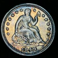 "1849 Seated Liberty Half Dime 5C High Grade AU-MS ""Crain"" US Silver Coin CC2200"