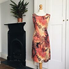 Vintage 90s Red Orange Yellow Batik Abstract Floral Print Hippy Dress 14
