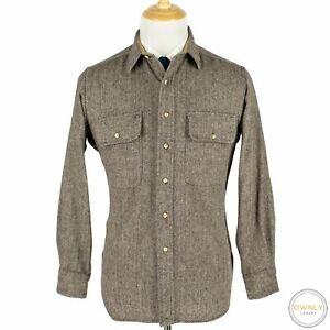 Polo Ralph Lauren Brown White Wool Soft Tweed Herringbone Suede Elbow Shacket L