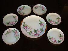 BAVARIA GERMANY HAND PAINTED CAKE SET, TRAY & 6 DESSERT PLATES, WILD ROSES