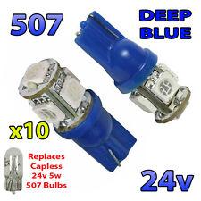 10 x Blue 24v Capless Side Light 507 501 W5W 5 SMD T10 Wedge Bulbs HGV Truck