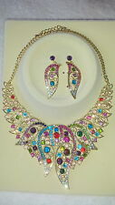 Multi colour Diamante crystal Necklace & earrings set wedding prom new set A