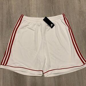 Adidas Squadra 17 White With Red Stripes Shorts. Men's Size XL. BNWT
