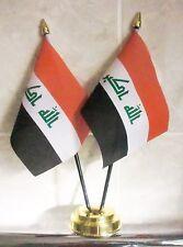 IRAQ X2 TABLE FLAG SET 2 flags plus GOLDEN BASE IRAQI