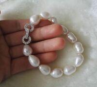 Kultivierte 11-12 mm weiß Süßwasser Perle Armband,8inch