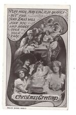 Vintage RP postcard 'Christmas Greetings' glamorous ladies, Xmas Ditty. pmk 1907