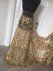 """Fancy Sequins EMBROIDERY Vogue Evening Bridle Designer Lace Fabric (142cm)56"""""""