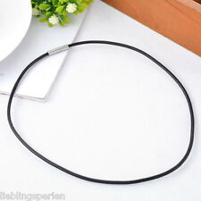 1 Schwarz Lederband Lederhalsband Wickelarmband Edelstahl Verschluss 45cmx0.3cm