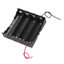 Rectangle In Parallel 2-Wired 4 x 3.7V 18650 Battery Holder Case Black L6