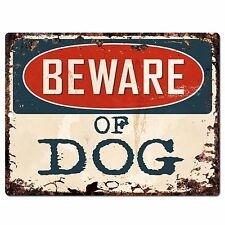 PP0630 Vintage Beware of DOG Plate Rustic Chic Sign Home Room Store Decor Gift