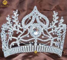 Large Contoured Tiara Pageant Crown Rhinestone Wedding Bridal Prom Party Costume